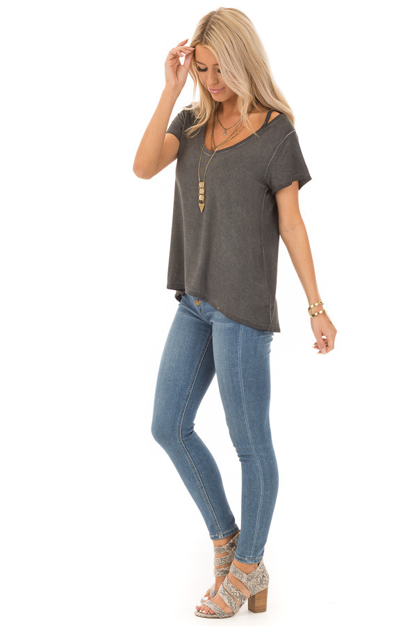 Charcoal Washed Short Sleeve Tee with Shoulder Cutouts side full body