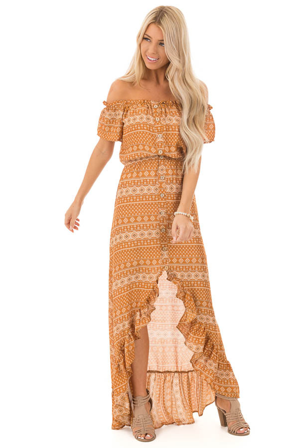 Ginger Off the Shoulder Button Up High Low Dress front full body