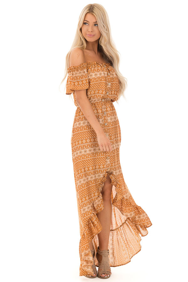 Ginger Off the Shoulder Button Up High Low Dress side full body