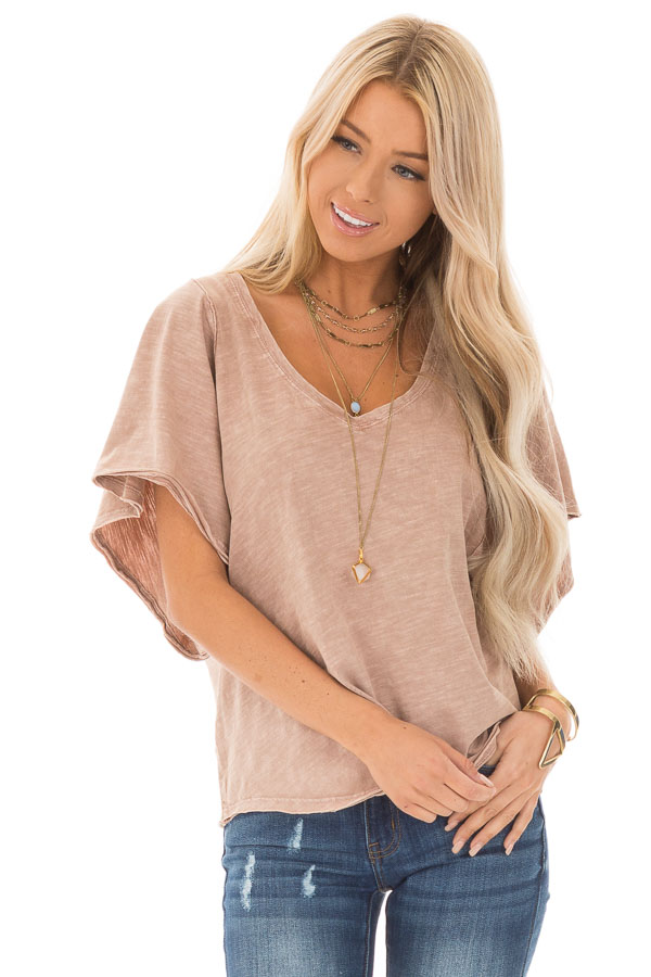 Vintage Mauve V Neck Top with Short Batwing Sleeves front close up