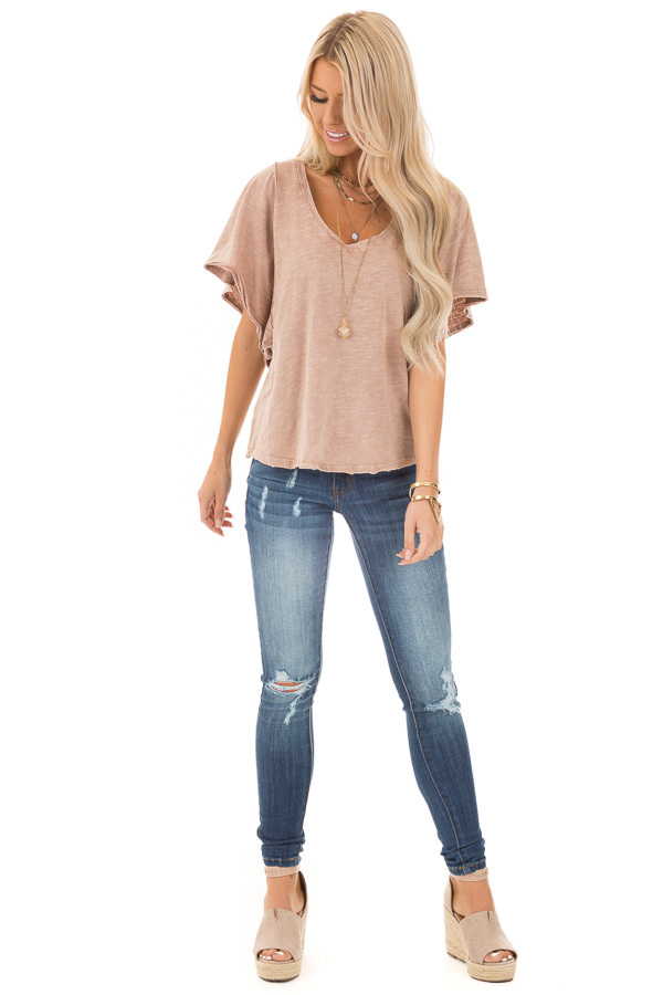 Vintage Mauve V Neck Top with Short Batwing Sleeves front full body