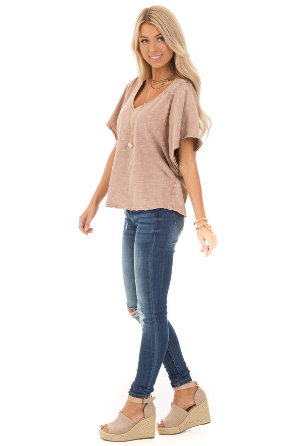 Vintage Mauve V Neck Top with Short Batwing Sleeves side full body