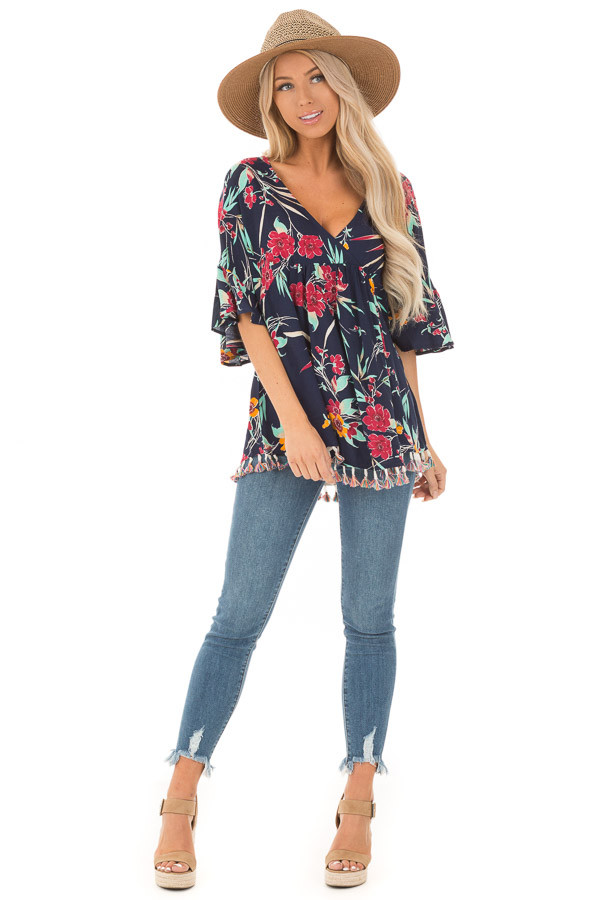 Navy Top with Floral Print and Multicolor Tassel Hemline front full body