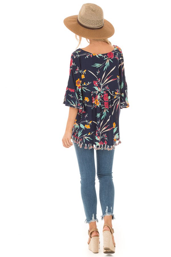 Navy Top with Floral Print and Multicolor Tassel Hemline back full body
