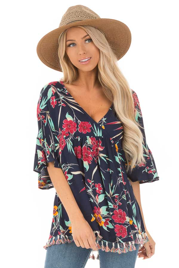 Navy Top with Floral Print and Multicolor Tassel Hemline front close up