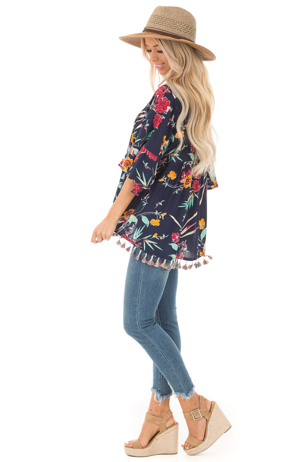 Navy Top with Floral Print and Multicolor Tassel Hemline side full body