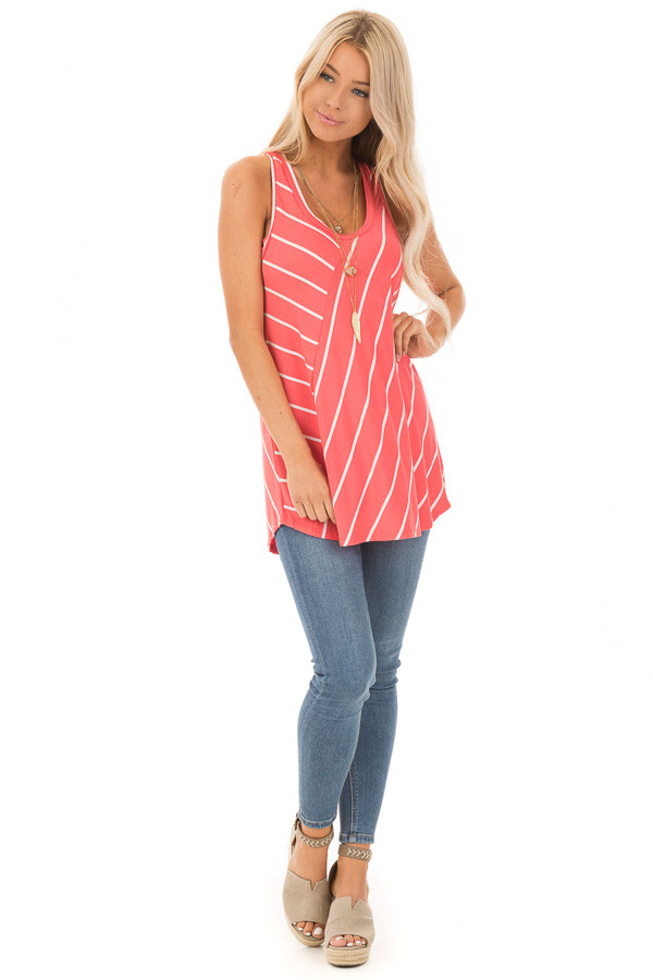 Coral and Ivory Contrasting Stripe Racerback Swing Tank Top front full body