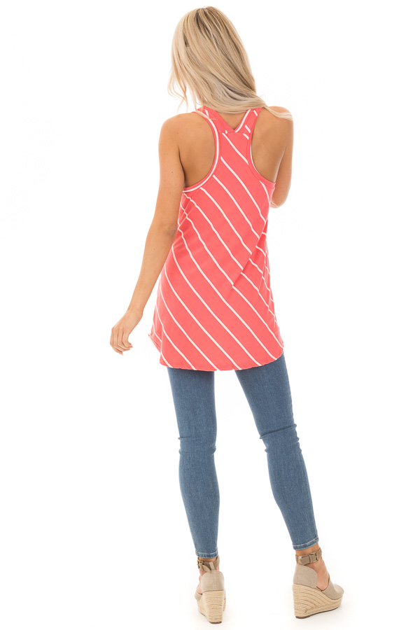 Coral and Ivory Contrasting Stripe Racerback Swing Tank Top back full body