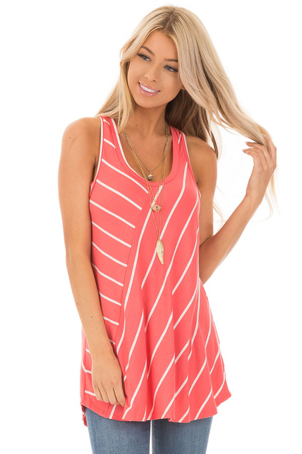 Coral and Ivory Contrasting Stripe Racerback Swing Tank Top front close up