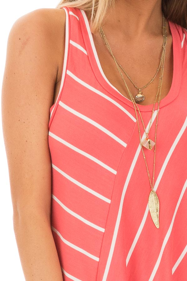 Coral and Ivory Contrasting Stripe Racerback Swing Tank Top detail