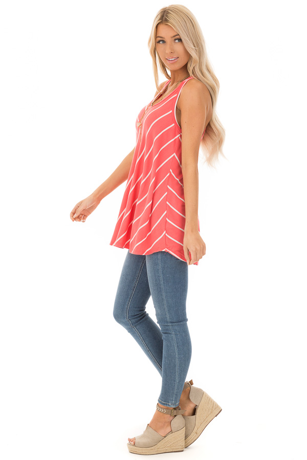 Coral and Ivory Contrasting Stripe Racerback Swing Tank Top side full body