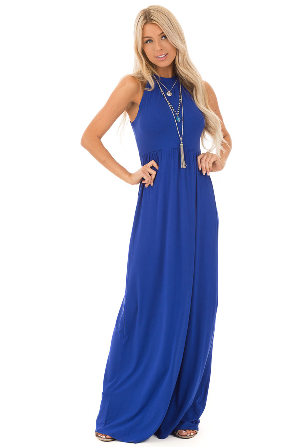 c21f247d6b Royal Blue Halter Neckline Maxi Dress with Gathers - Lime Lush Boutique