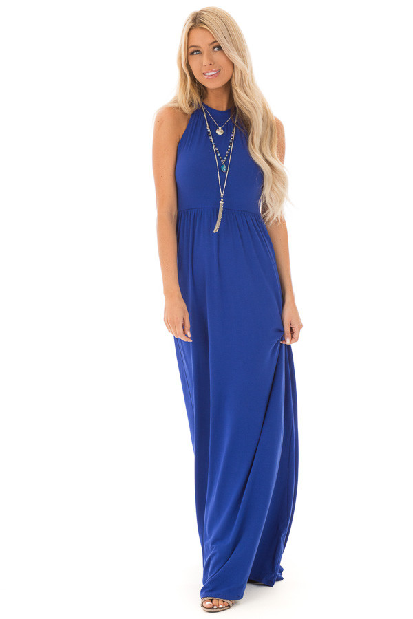 Royal Blue Halter Neckline Maxi Dress with Gathers front full body