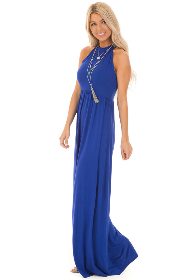 Royal Blue Halter Neckline Maxi Dress with Gathers side full body