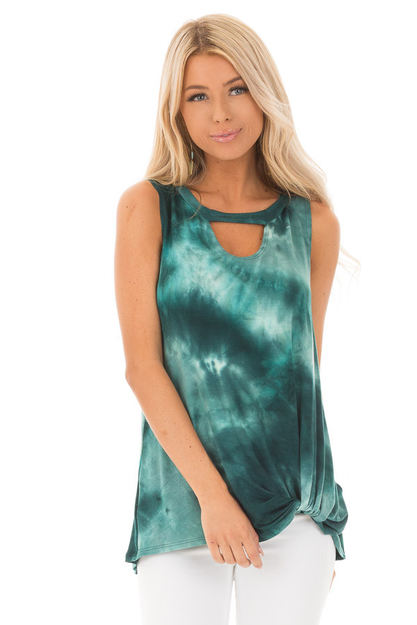 Deep Teal Tie Dye Tank Top with Cutout and Front Twist front close up