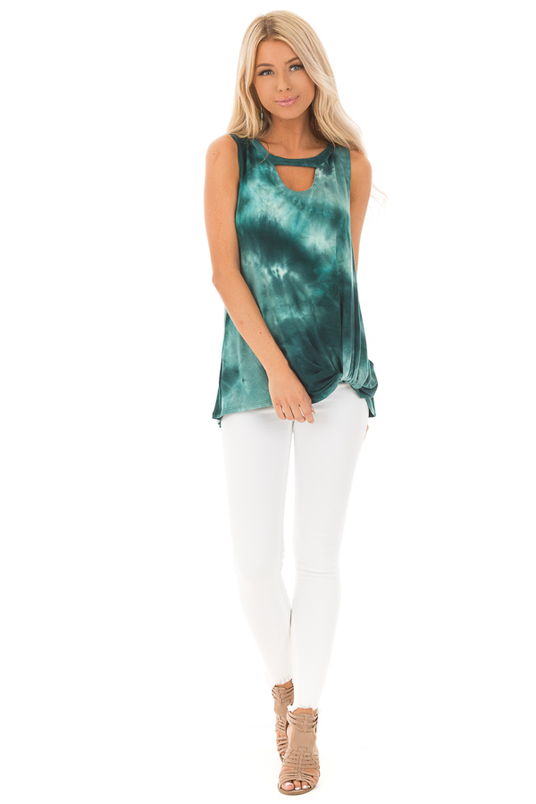 Deep Teal Tie Dye Tank Top with Cutout and Front Twist front full body