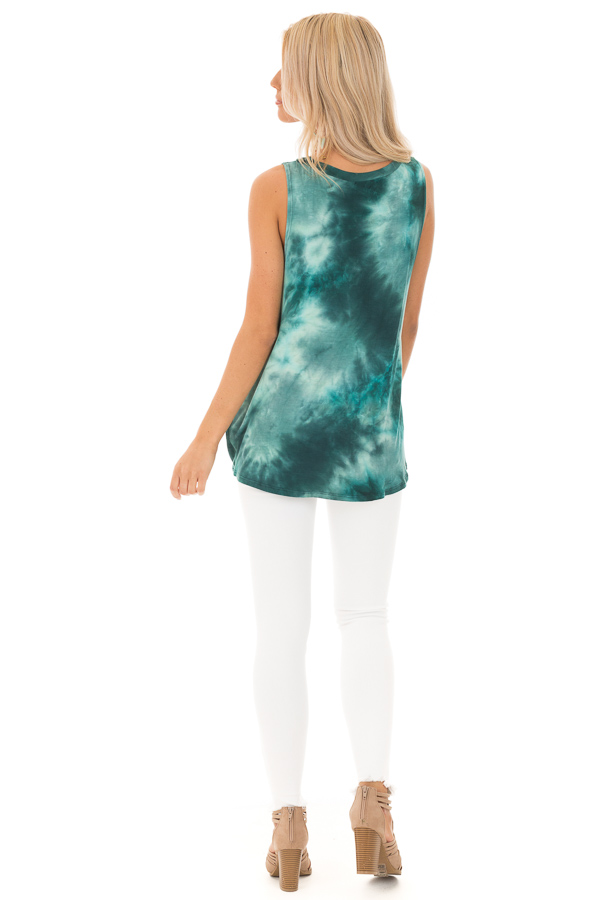 Deep Teal Tie Dye Tank Top with Cutout and Front Twist back full body