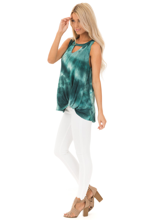 Deep Teal Tie Dye Tank Top with Cutout and Front Twist side full body