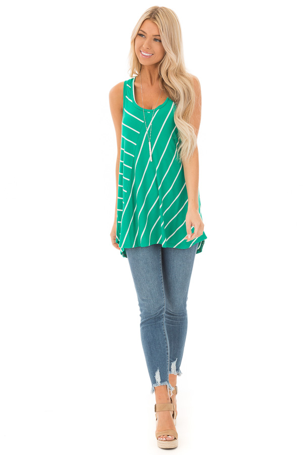 Shamrock and Ivory Contrasting Stripe Racerback Swing Top front full body