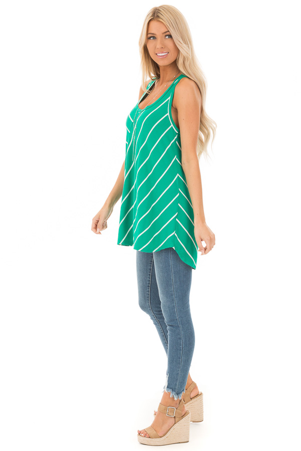 Shamrock and Ivory Contrasting Stripe Racerback Swing Top side full body