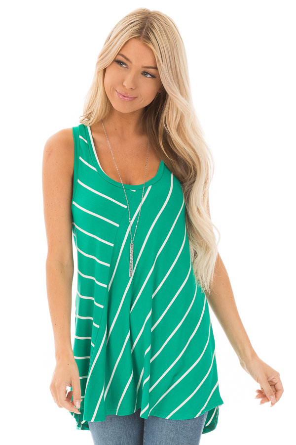 Shamrock and Ivory Contrasting Stripe Racerback Swing Top front close up