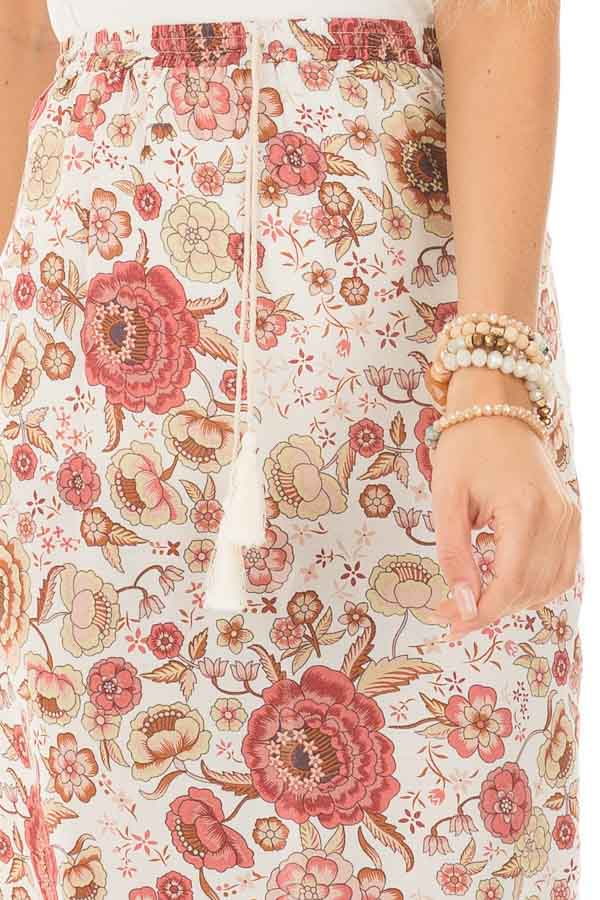 Ivory and Dusty Rose Floral Print Maxi Skirt with Tassel Tie detail