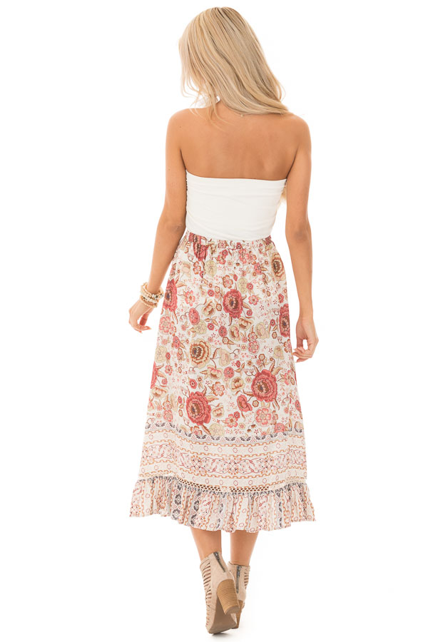 Ivory and Dusty Rose Floral Print Maxi Skirt with Tassel Tie back full body