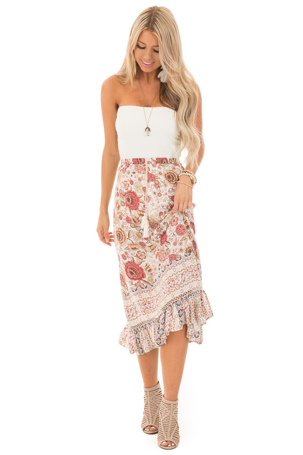 Ivory and Dusty Rose Floral Print Maxi Skirt with Tassel Tie front full body