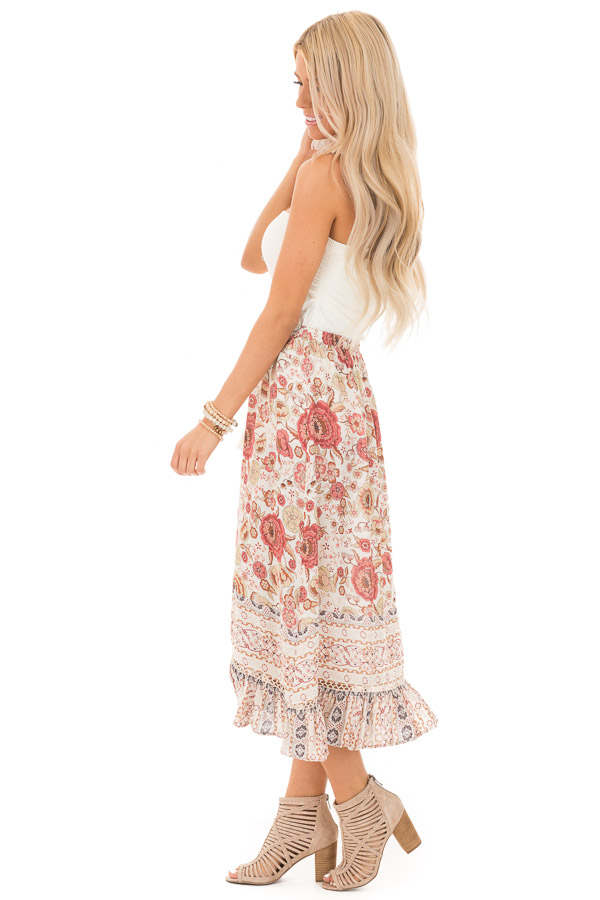Ivory and Dusty Rose Floral Print Maxi Skirt with Tassel Tie side full body