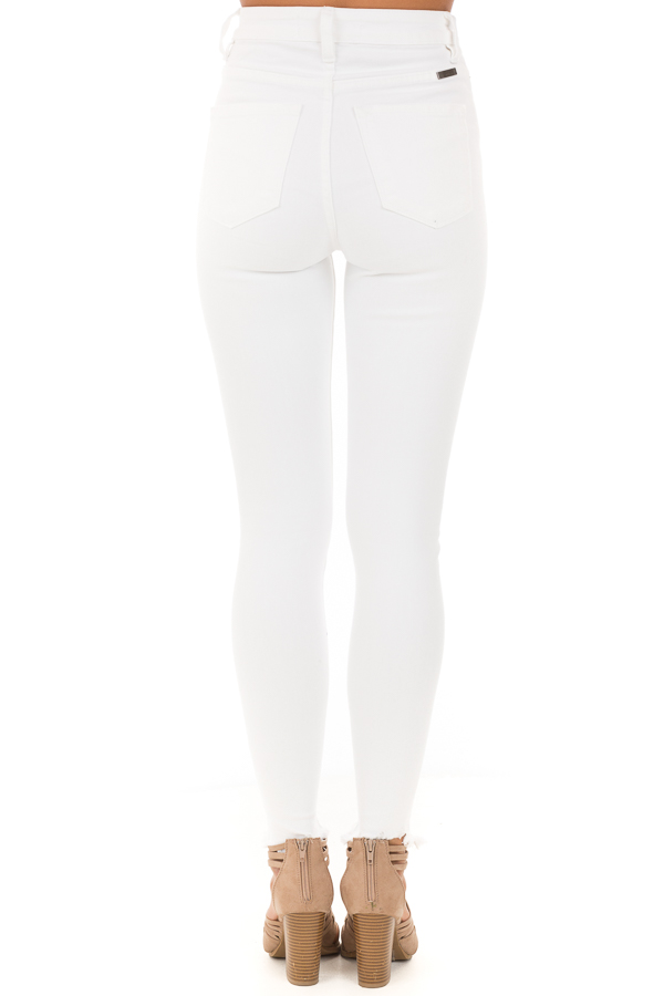 Snowy White High Waisted Button Up Jeans with Raw Cuffs back view