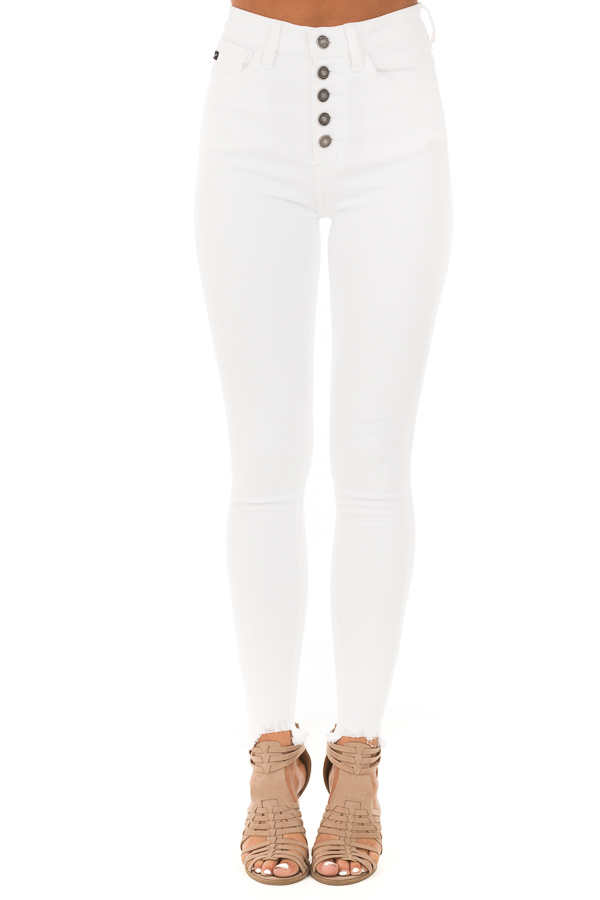 Snowy White High Waisted Button Up Jeans with Raw Cuffs front view