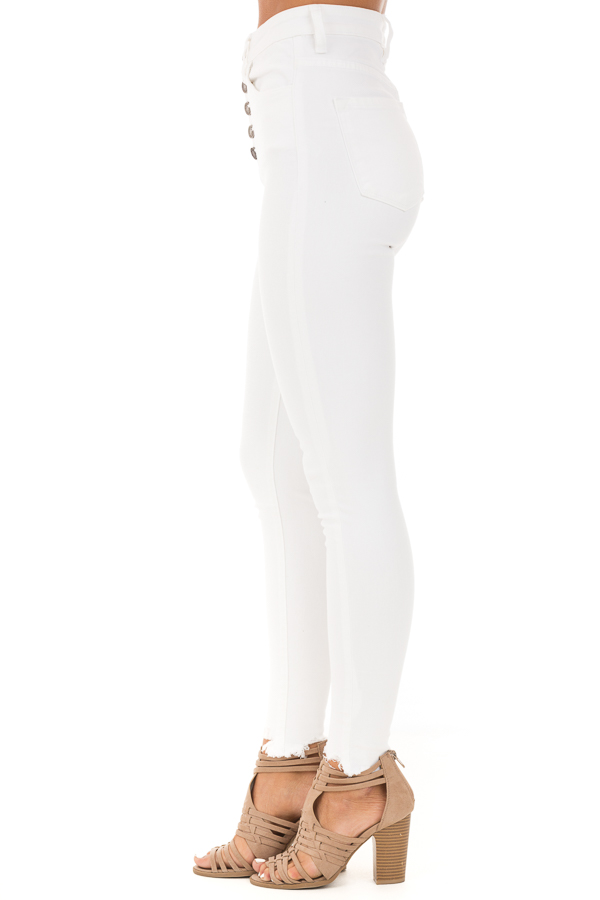 Snowy White High Waisted Button Up Jeans with Raw Cuffs side view