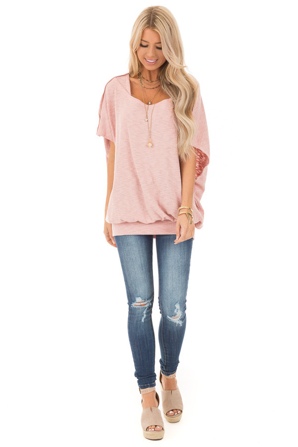 Soft Rose Oversized Textured Top with Back Wrap V Cut Detail front full body