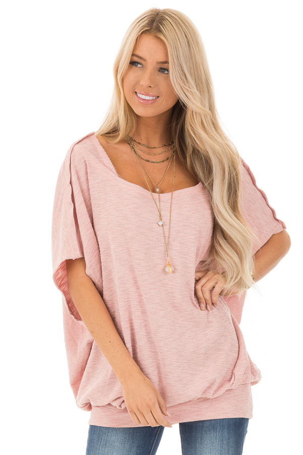 Soft Rose Oversized Textured Top with Back Wrap V Cut Detail front close up