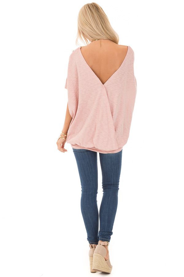 Soft Rose Oversized Textured Top with Back Wrap V Cut Detail back full body