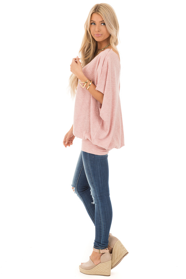 Soft Rose Oversized Textured Top with Back Wrap V Cut Detail side full body