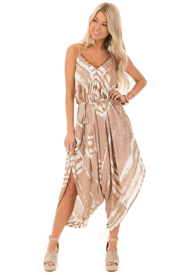 Light Mocha Patterned Jumpsuit with High Low Hem and Sash front full body