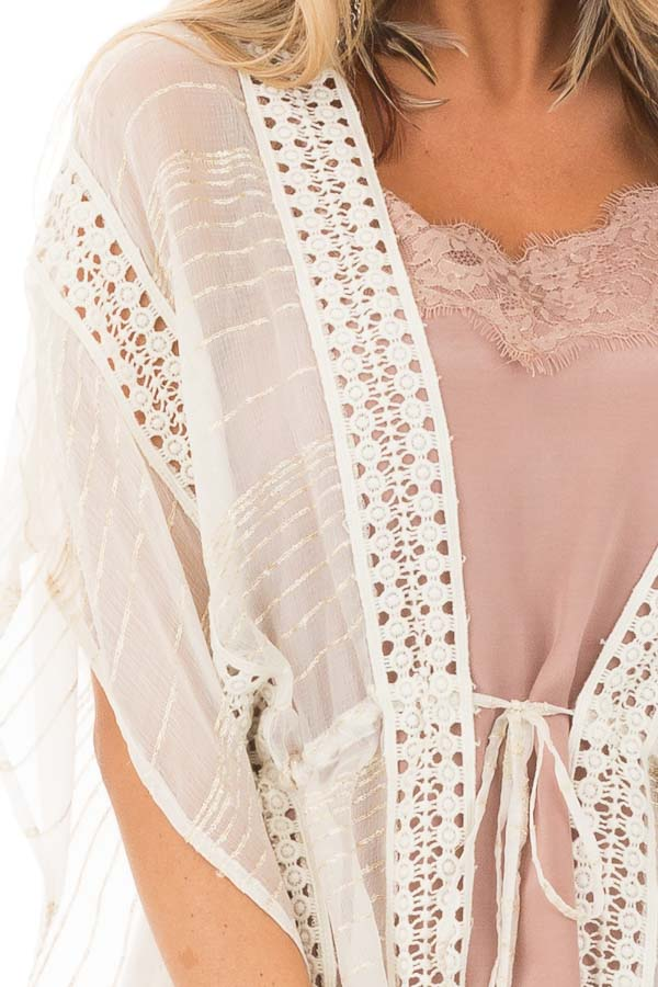 Off White and Gold Sheer Kimono with Crochet Details and Tie detail