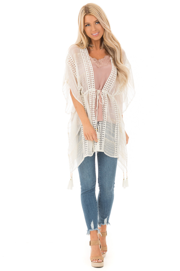 Off White and Gold Sheer Kimono with Crochet Details and Tie front full body