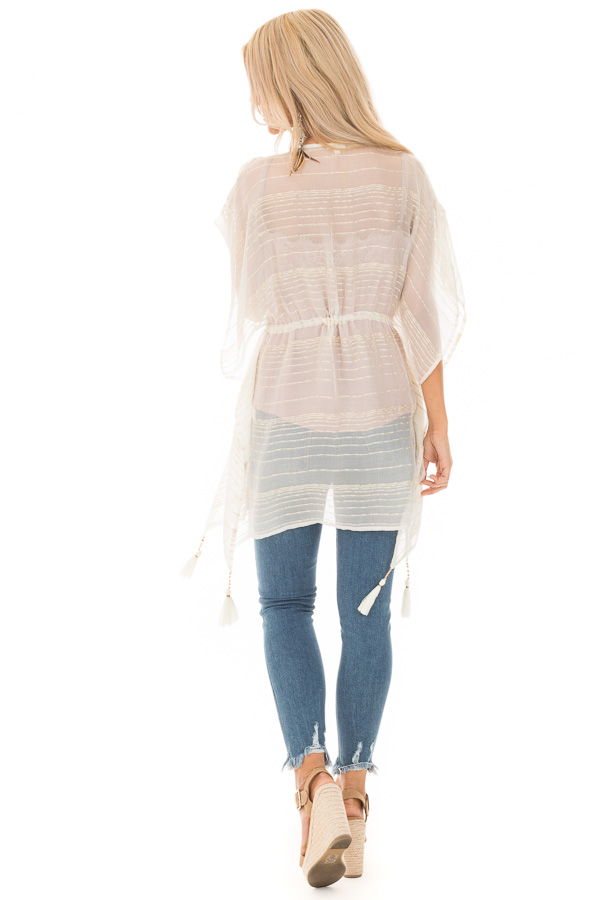 Off White and Gold Sheer Kimono with Crochet Details and Tie back full body