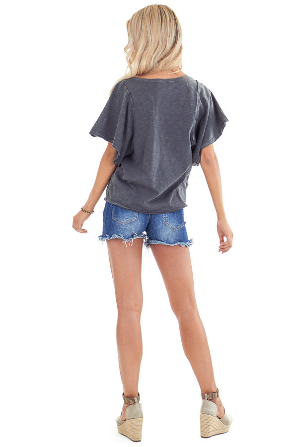 Vintage Charcoal V Neck Top with Short Batwing Sleeves back full body