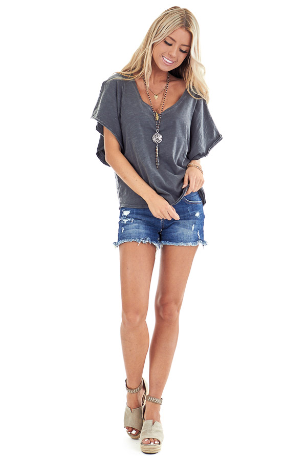 Vintage Charcoal V Neck Top with Short Batwing Sleeves front full body