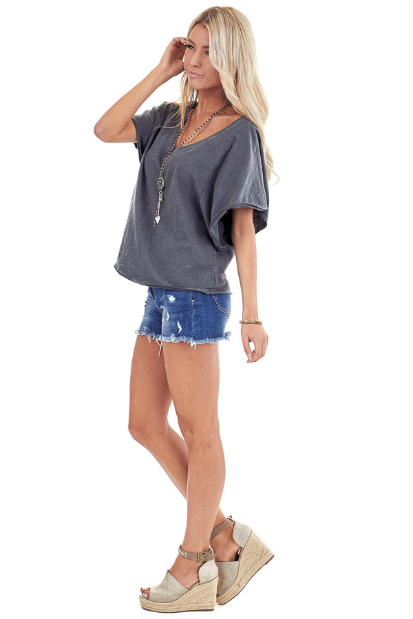 Vintage Charcoal V Neck Top with Short Batwing Sleeves side full body