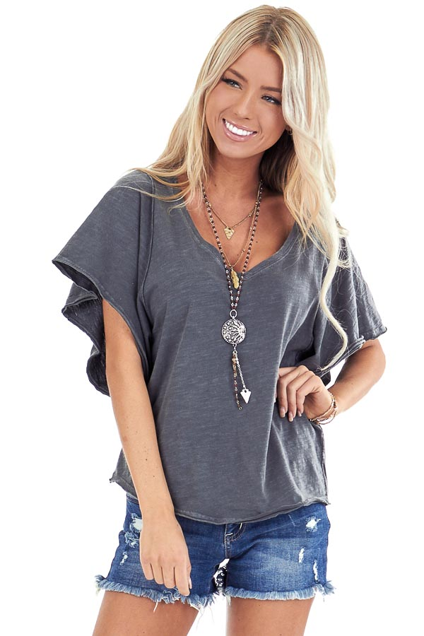 Vintage Charcoal V Neck Top with Short Batwing Sleeves front close up