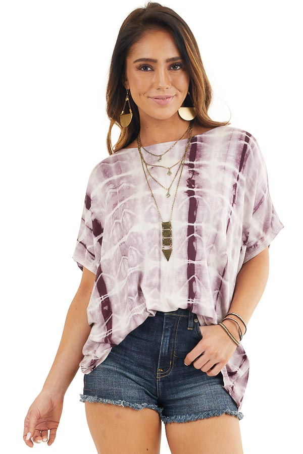 Boysenberry Tie Dye Open Back Short Sleeve Top front close up