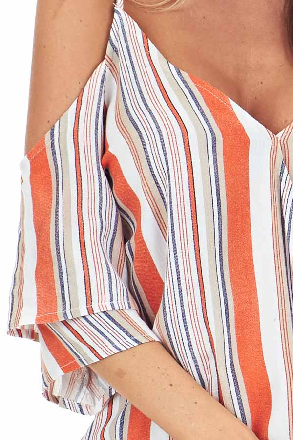 Tangerine and Pearl Striped Off Shoulder Ruffle Sleeve Top detail