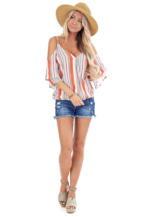 Tangerine and Pearl Striped Off Shoulder Ruffle Sleeve Top front full body