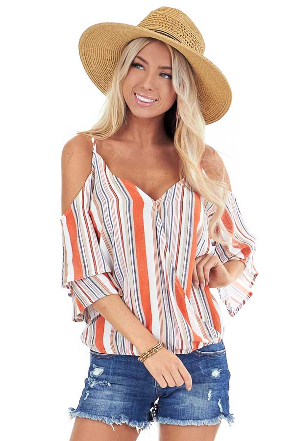 Tangerine and Pearl Striped Off Shoulder Ruffle Sleeve Top front close up