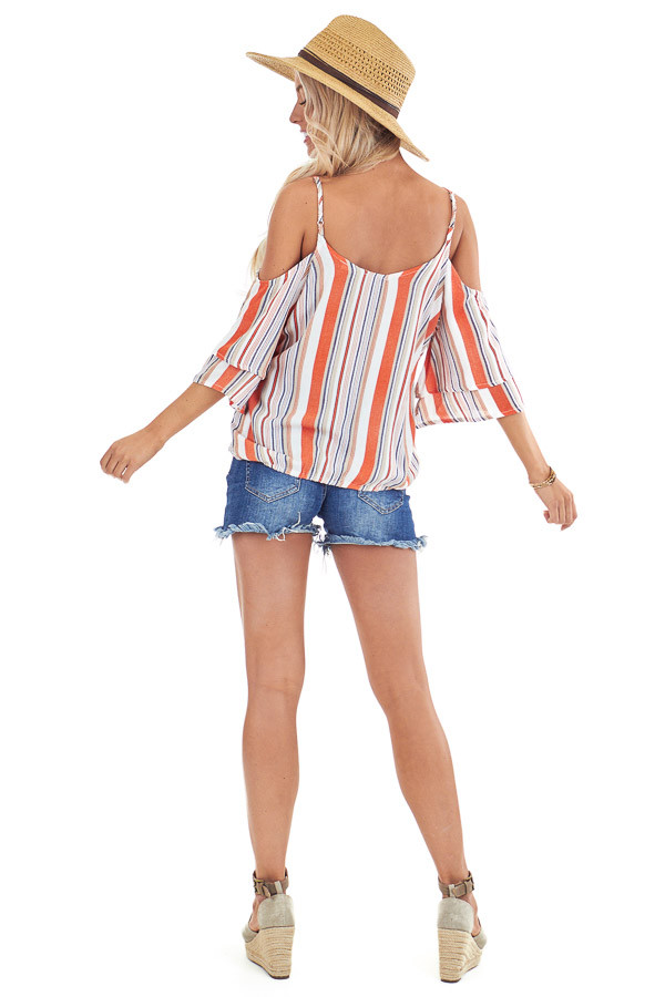 Tangerine and Pearl Striped Off Shoulder Ruffle Sleeve Top back full body
