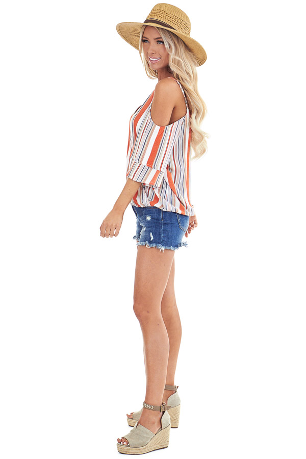 Tangerine and Pearl Striped Off Shoulder Ruffle Sleeve Top side full body